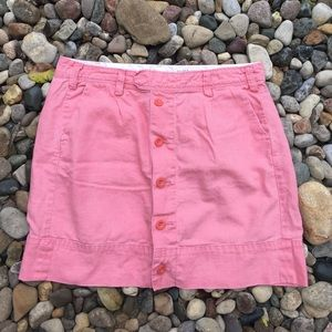 Anthropologie Pink Coral Linen Blend Skirt Size 14